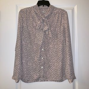 Halogen pink work top with neck tie - size small